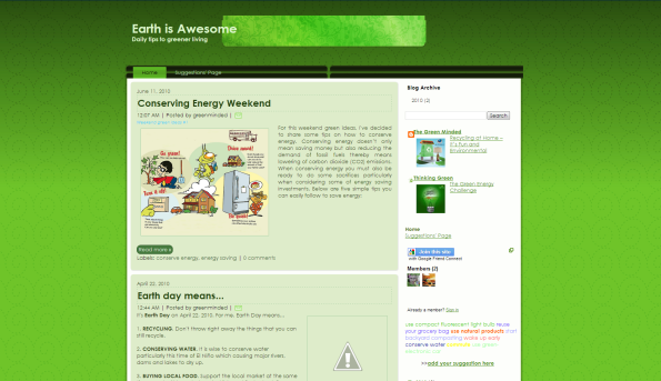earth is awesome blogger template